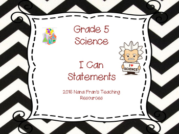 Saskatchewan Grade 5 Science I Can Statement Posters in Bl