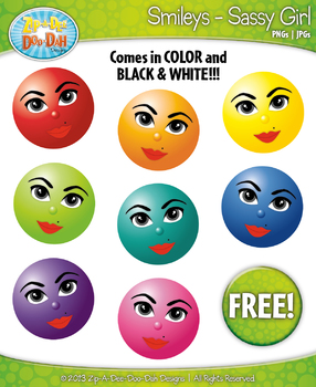 FREE Sassy Girl Smiley Faces Emotions Clip Art Graphics