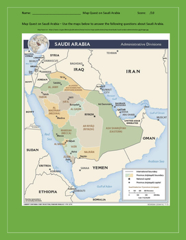 Saudi Arabia Triple Map Quest and Geography Skills