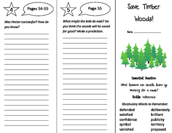 Save Timber Woods Trifold - Journeys 4th Grade Unit 6 Week