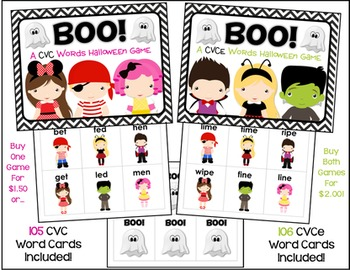 Save With A Bundle!  Boo!  Halloween CVC and CVCe Word Games