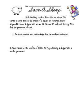 Save a Sheep-Area and Perimeter Activity