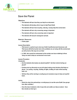 Save the Planet (Grades 2-6)