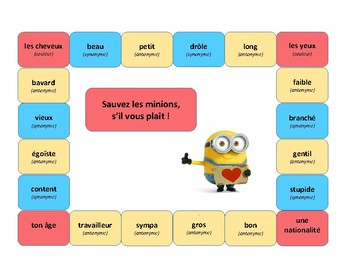 Save the minions, French game, adjectives, description, Di