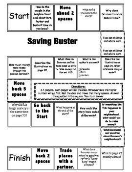 """Saving Buster"" Comprehension Game Board- Journeys story 3"