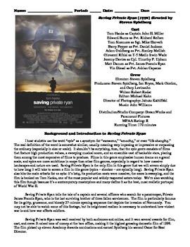 Saving Private Ryan Film (1998) Study Guide Movie Packet