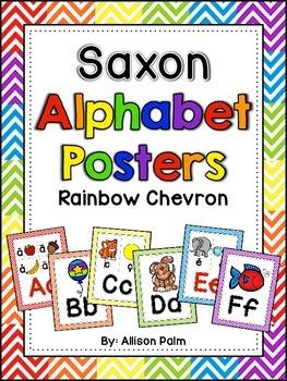 Saxon Phonics Alphabet Posters {rainbow chevron}