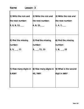 Saxon Math 5/4 Homework Paper Lesson 3
