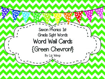 Saxon Phonics First Grade Sight Words Cards {Green Chevron