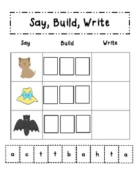Say Build Write Word Family Activity Pack