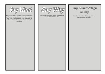 Say What Close Reading Handout