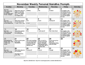 Scaffolded Personal Narrative Writing Calendar with Graphi