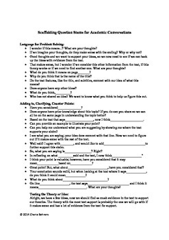Scaffolding Question Stems for Academic Conversations-CCSS