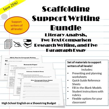 Scaffolding Support Writing Bundle, Differentiate for Writ