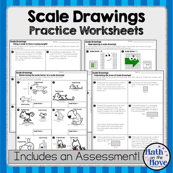 Scale Drawings - Practice Worksheets and Assessment (7.G.1)