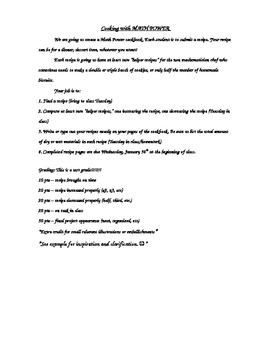 Scale Factor Project - Make a Class Cookbook