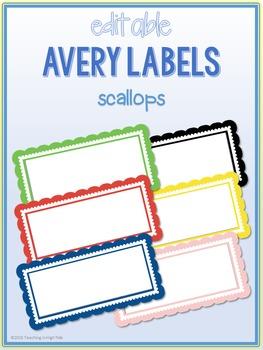 Scallop Border Labels * Editable * Avery 5163 (4x2)