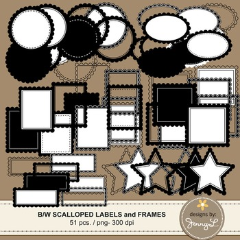 Scalloped Black & White Labels and Frames Clipart