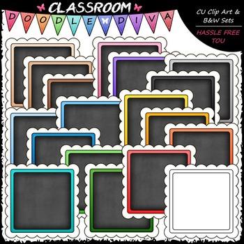Scalloped Chalkboard Squares Clip Art - Frames Clip Art