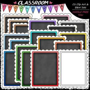 Scalloped Chalkboard Starter Pages 8.5x11- Cover Page Clip Art