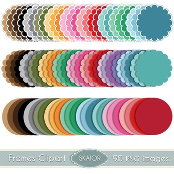 Scalloped Circle Frames Clipart Pastel Dotted Rainbow Prin