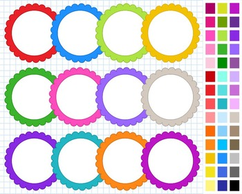 Scalloped Digital Frames Pack, Frames Clipart, 43 Frames