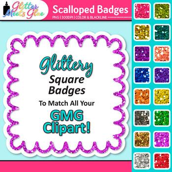 Scalloped Frame Clip Art {Square Rainbow Glitter Labels fo