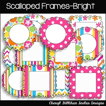 Scalloped Frames (16) Bright Colors