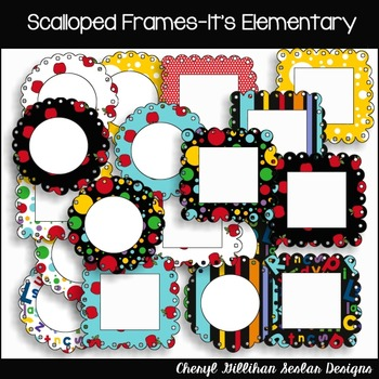 Scalloped Frames (20) It's Elementary Clipart Collection