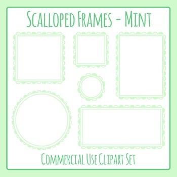 Scalloped Frames Borders Mint Clip Art Set Commercial Use