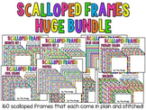 HUGE BUNDLE of Scalloped Frames Page Borders Clip Art