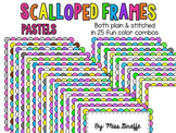 Scalloped Frames Page Borders Clip Art {Pastels}