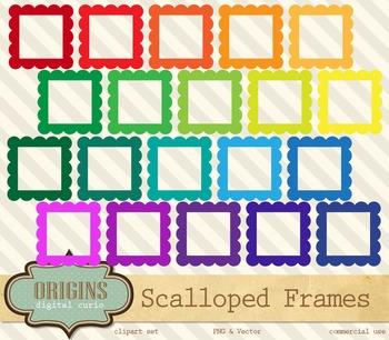Scalloped Rainbow Frames Clipart