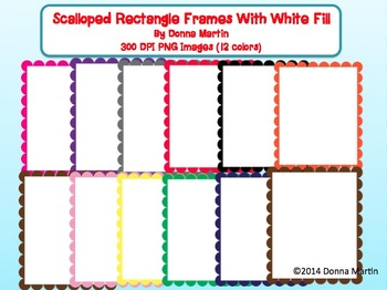 Scalloped Rectangle Frames and Borders Set