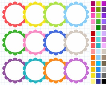 Scalloped Round Digital Frames Pack, Frames Clipart, 43 Frames