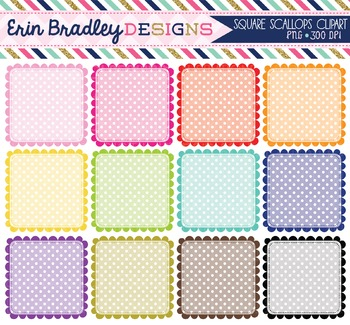 Scalloped Squares Clipart - Polka Dots Clip Art