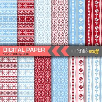 Scandinavian Digital Papers, Nordic Patterns, Red & Blue