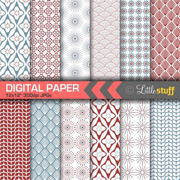 Scandinavian Digital Papers, Nordic Patterns, Red & Blue M