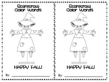 Scarecrow Color Words Emergent Reader