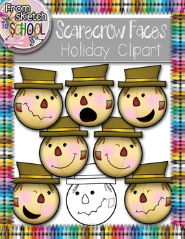 Scarecrow Faces Holiday Halloween Clipart {From Sketch to School}