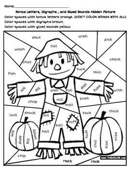 Scarecrow Hidden Picture - Digraphs, Bonus Letters, & Glue