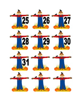 Scarecrow Numbers for Calendar or Math Activity