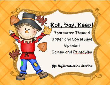 Scarecrow/Fall Themed: Roll, Say, Keep! Alphabet Center, G