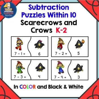 Scarecrows Subtraction Fact Fluency Puzzles for Kindergart
