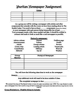 Scarlet Letter Puritan Newspaper Project