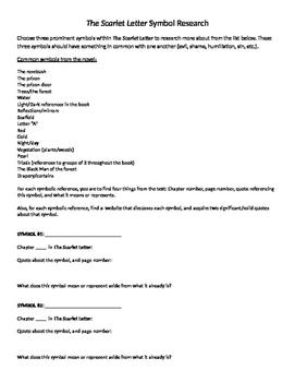 Scarlet Letter Symbolism Research Paper