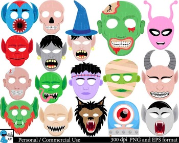 Scary Monsters Props - Clipart Digital Personal Commercial