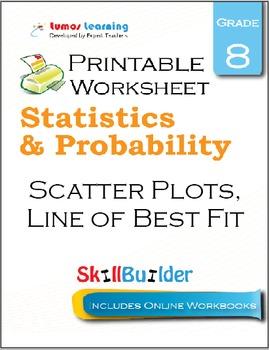 Scatter Plots, Line of Best Fit Printable Worksheet, Grade 8