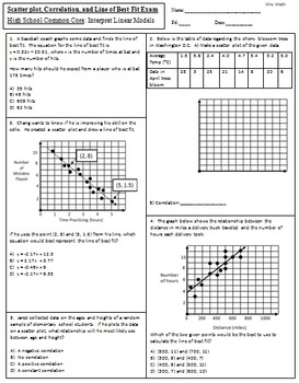 Scatter Plot Worksheet Doc: Scatter plot  Correlation  and Line of Best    by Mrs MATH    ,