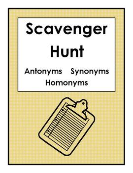 Scavenger Hunt Antonyms Synonyms Homonyms